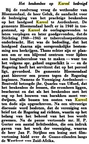 Artikel in De Kampioen van april 1948 op blz. 88: Het beukenbos op Kareol bedreigd.