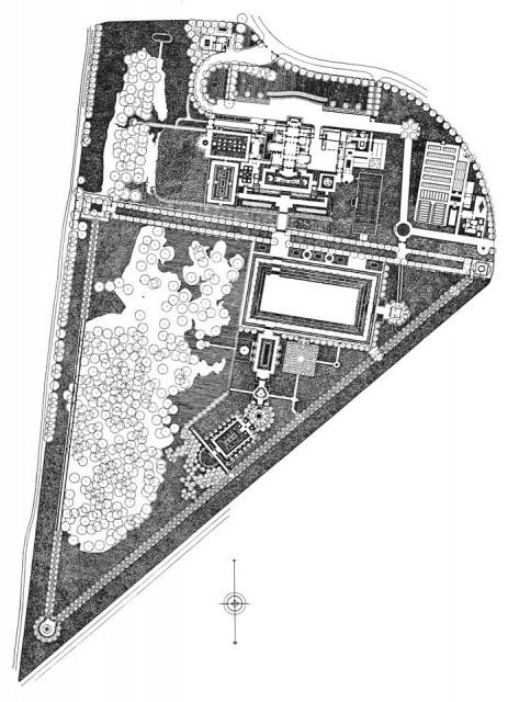 Plattegrond van landgoed Kareol, omstreeks de bouw