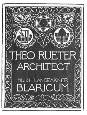 Visitekaartje van Theo Rueter, architect